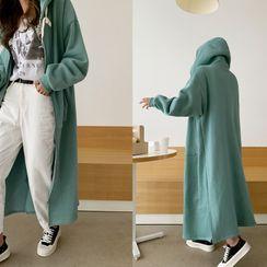 NANING9 - Zip-Up Fleece-Lined Maxi Hoodie Dress