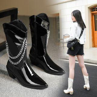 Kireina - Chunky Heel Chained Short Boots