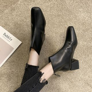 Wello - Square-Toe Chunky-Heel Ankle Boots