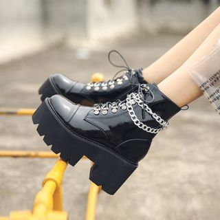 Anran - Combat Platform Boots with Chain
