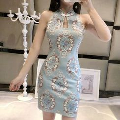 Aetherial - Printed Cut-Out Halter-Neck Sheath Qipao