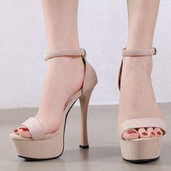 Anran - Faux Suede High Heel Platform Sandals