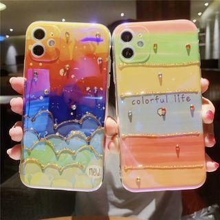 Baripa - Embellished Rainbow Print Phone Case - iPhone 11 Pro Max / 11 Pro / 11 / SE / XS Max / XS / XR / X / SE 2 / 8 / 8 Plus / 7 / 7 Plus