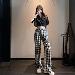 Flowerisque - Short-Sleeve Double-Breasted Shirt / Plaid Wide Leg Pants