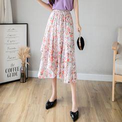 Muezz - Floral Print Midi A-Line Skirt