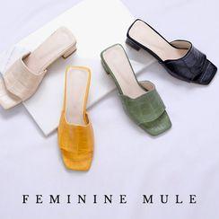 Lemite - Block-Heel Croc-Grain Mules