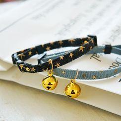 Meow Six - Bell Metallic Star Denim Pet Collar