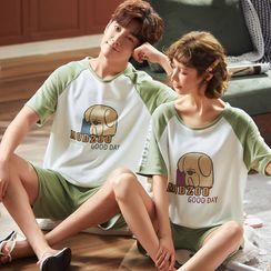 Ribbonsong - Couple Matching Pajama Set: Printed Top + Shorts