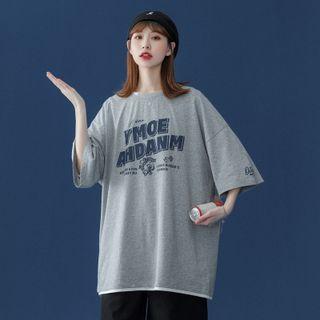 Sherina - Elbow-Sleeve Lettering Print T-Shirt