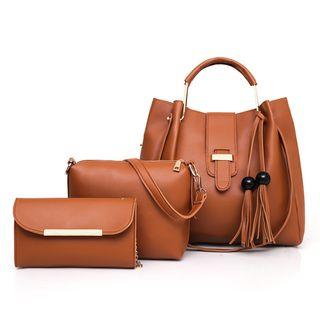 Denyard - Set: Fringed Buckled Clutch + Shoulder Bag + Chain Strap Crossbody Bag