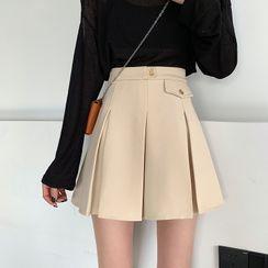 Flowerisque - Mini Pocketed Pleated Skirt