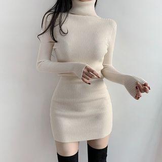 Genrovia - Turtleneck Long-Sleeve Ribbed Sheath Dress