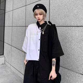 Giuliana - 前口袋双色短袖衬衫