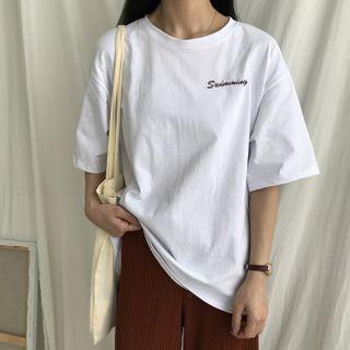IndiGirl - Short Sleeve Letter Print T-Shirt