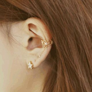 Cheermo - Rhinestone Flower Ear Cuff