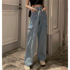 JIUHOJI - Straight-Cut Cargo Jeans