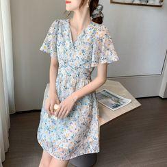 Luminato - Short-Sleeve Floral Print Mini A-Line Dress