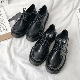 HOGG - Faux Leather Platform Lace Up Oxford Shoes