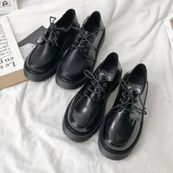 HOGG - Faux Leather Platform Lace Up Oxford Shoes