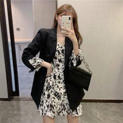 Flowerisque - Single-Breasted Blazer / Spaghetti Strap Leopard Print Mini A-Line Dress
