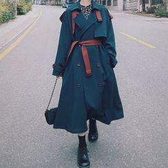 Jinyo - 雙色雙排扣長風衣