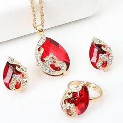 AONA - Set: Rhinestone Peacock Pendant Necklace + Earring + Ring