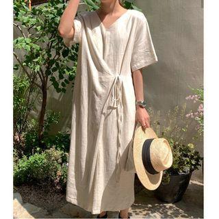 Lewwe - Short-Sleeve Plain Tie-Waist Midi Shift Dress