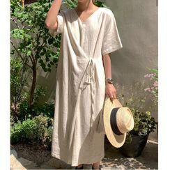 Lewwe - 短袖純色腰結帶直身連衣中裙