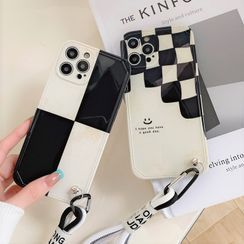 Case Study - Check Hand Strap Phone Case - iPhone 13 Pro Max / 13 Pro / 13 / 13 mini / 12 Pro Max / 12 Pro / 12 / 12 mini / 11 Pro Max / 11 Pro / 11 / SE / XS Max / XS / XR / X / SE 2 / 8 / 8 Plus / 7 / 7 Plus