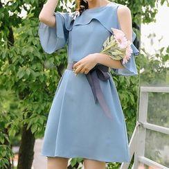 Ashlee - Ruffled Cold Shoulder Elbow-Sleeve A-Line Dress
