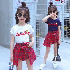 PAM - Kids Set: Short-Sleeve T-Shirt + Plaid Skort