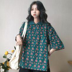 Iduna - Short-Sleeve Floral Printed Polo Shirt
