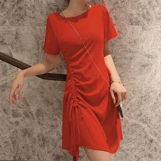 Faria - Short-Sleeve Drawstring A-Line T-Shirt Dress