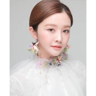 Miss21 Korea - Corsage Tulle Wedding Set: Earrings + Bracelet + Veil