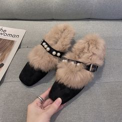 Hipsole - Faux Fur Trim Block Heel Pumps