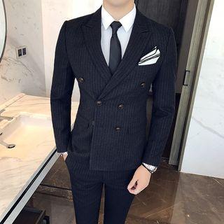 Besto - Set: Double-Breasted Blazer + Vest + Dress Pants