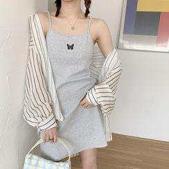 monroll - 條紋襯衫 / 細肩帶迷你連衣裙