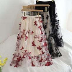 Pinatra - Butterfly Embroidered Mesh Midi A-Line Skirt