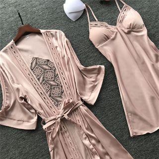 Almilo - Pajama Set: Spaghetti Strap Pajama Dress + Tie-Waist Crochet Panel Robe