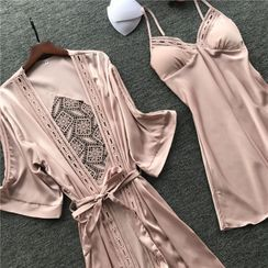 Almilo - Pajama Set: Spaghetti Strap Pajama Dress + Tie-Waist Crochet Panel Robe