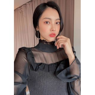 chuu - Knit-Panel Frilled Chiffon Blouse