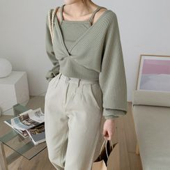 MERONGSHOP - Set: Tie-Back Cropped Knit Top + Square-Neck Camisole