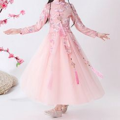 HELLO BABY - Kids Floral Embroidered Mandarin Collar Long-Sleeve A-Line Dress