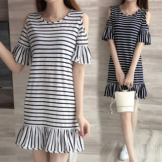 Sienne - Cut Out Shoulder Striped Elbow Sleeve Dress
