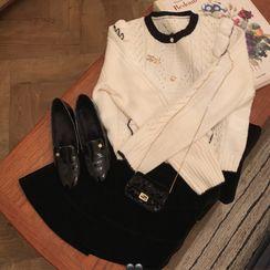 Super Shiitake - Contrast Trim Pointelle Knit Cardigan / Velvet Mini A-Line Skirt