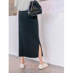 J-ANN - Slit-Side Maxi H-Line Skirt