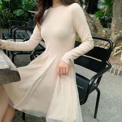 Glacia - Long-Sleeve Mesh A-Line Dress