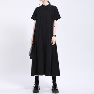 Ultra Modern - Plain Short-Sleeve Midi A-Line Dress