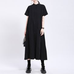 Ultra Modern - Plain Short-Sleeve Midi A-Line Dress