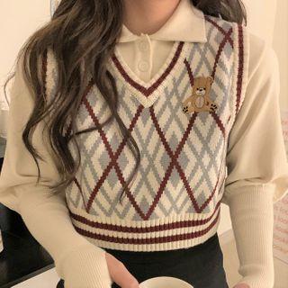 Rerise - Bear Embroidered Argyle Sweater Vest